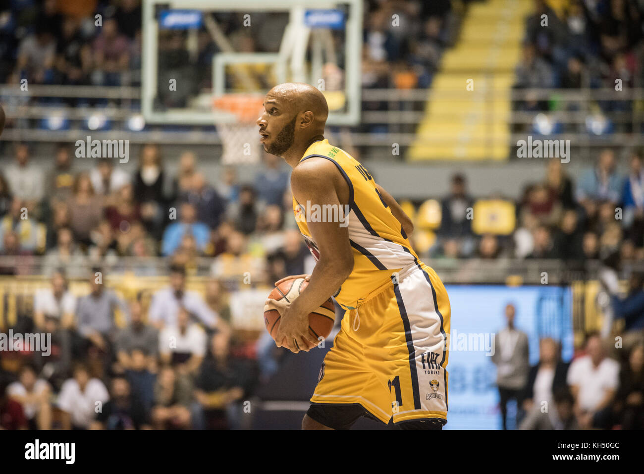 Andre Jones (Fiat Torino Auxilium) during the Basketball match, Serie A: Fiat Torino Auxilium vs Vanoli Cremona. Stock Photo