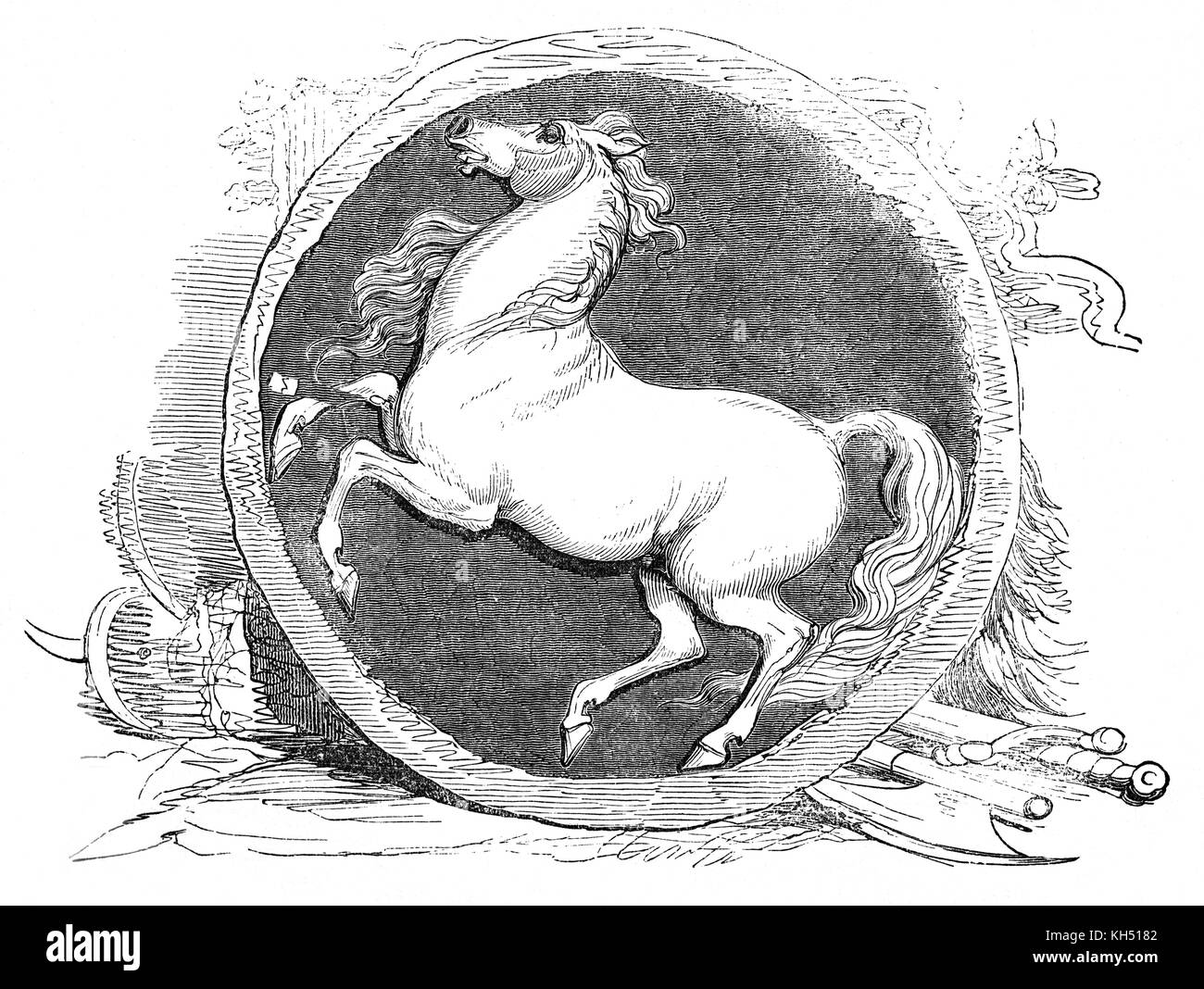 The War Standard of the White Horse: the standard was associated with the Saxons in the Dark Ages. It was also connected - Stock Image