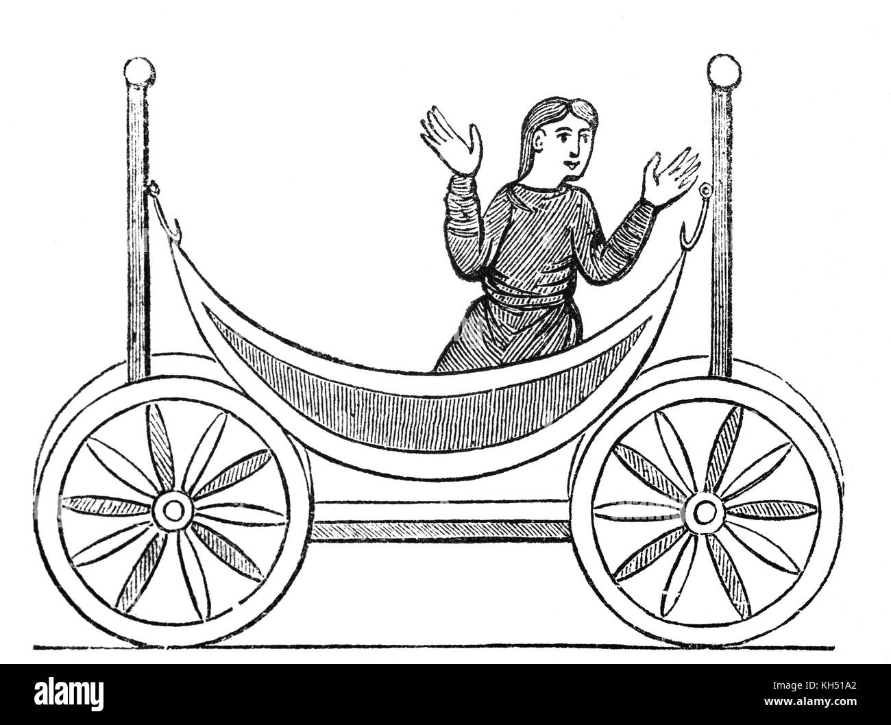 A cartoon of an Anglo Saxon woman in a wheel bed in 8th Century England. - Stock Image