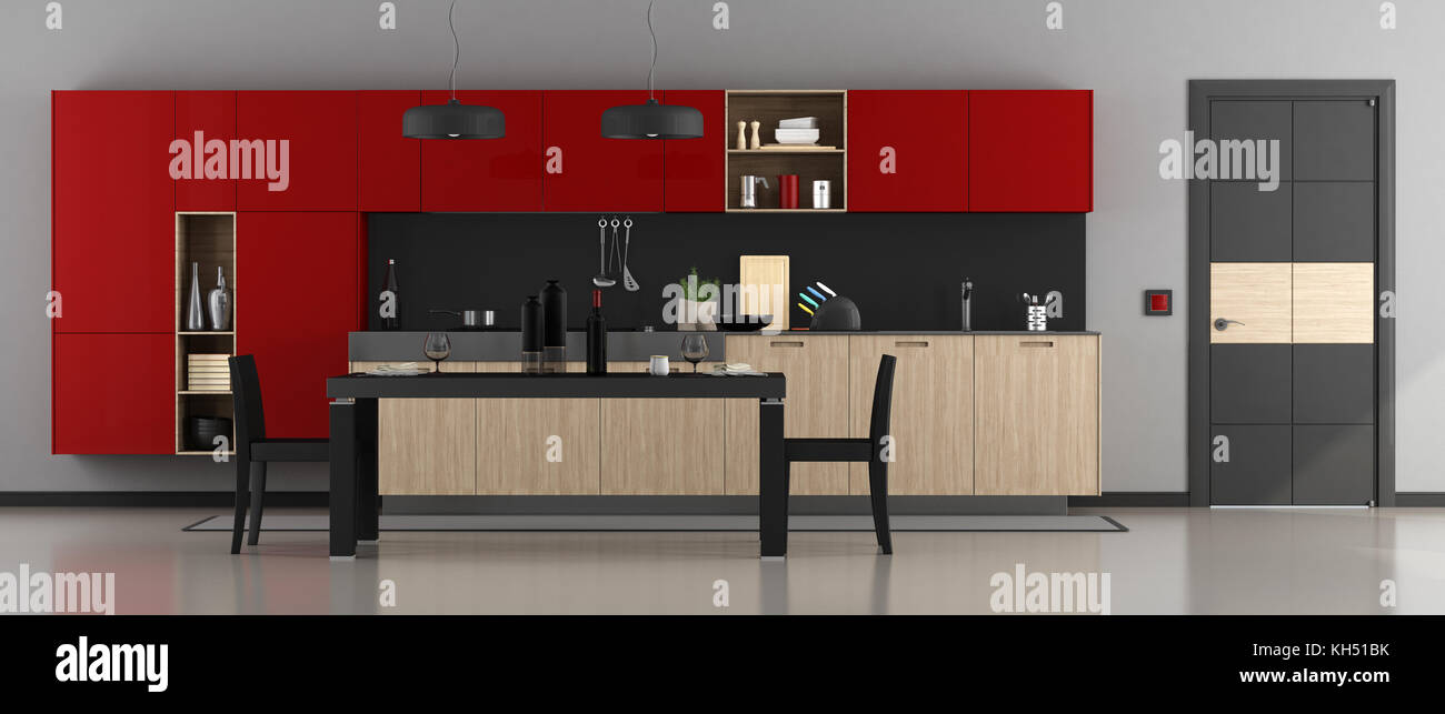 Red And Black Modern Kitchen With Dining Table Chairs Closed Door 3d Rendering Stock Photo Alamy