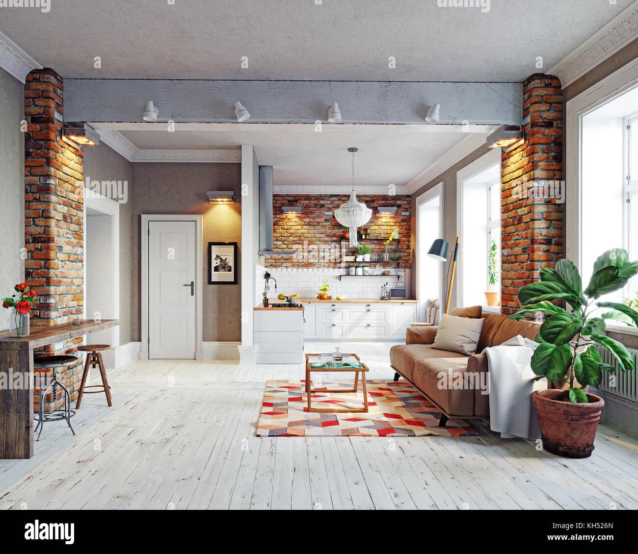 modern apartment  interior. Scandinavian style design. 3d rendering concept - Stock Image