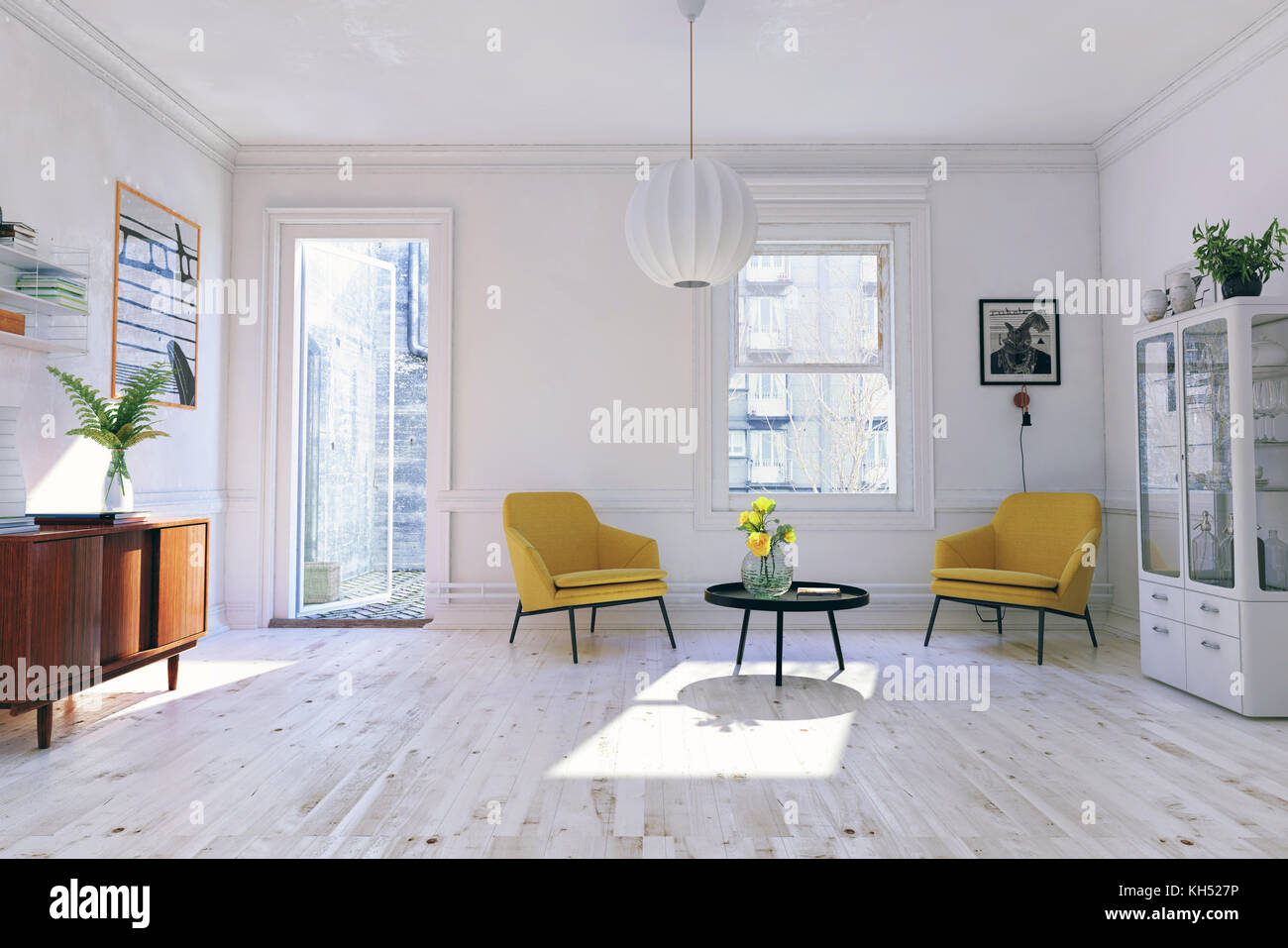 The Modern interior. Scandinavian design style. 3d rendering illustration concept - Stock Image