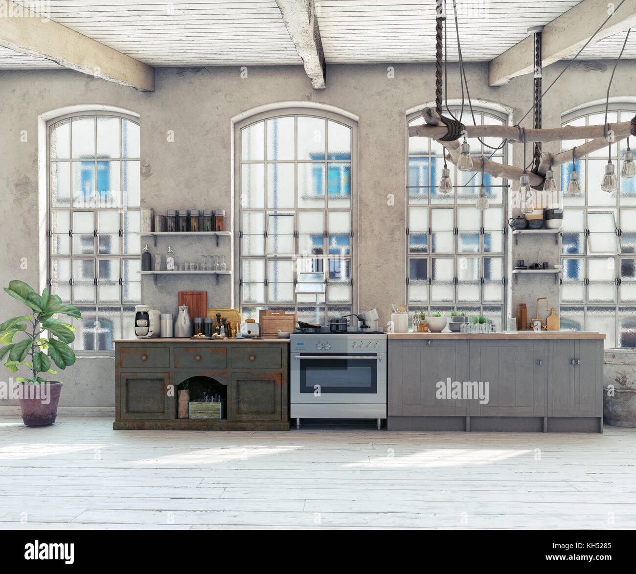 Attic loft kitchen interior. 3d rendering concept - Stock Image