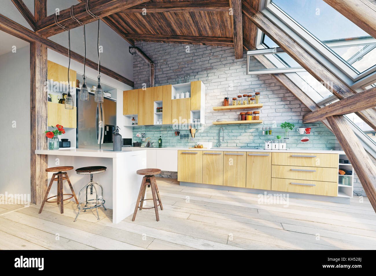 modern attic kitchen  interior. 3d rendering concept - Stock Image