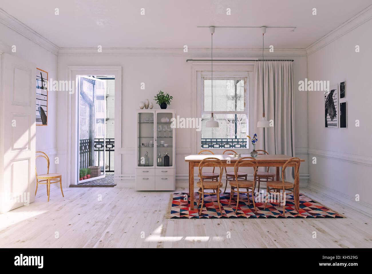 Modern dining room interior rendering, white concept. 3d illustration - Stock Image