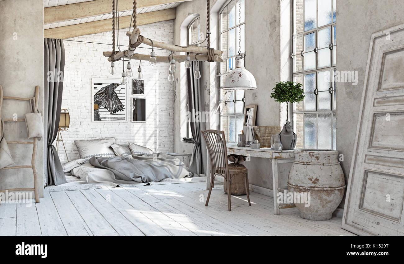 Scandinavian style interior. Bedroom attic. 3d rendering - Stock Image