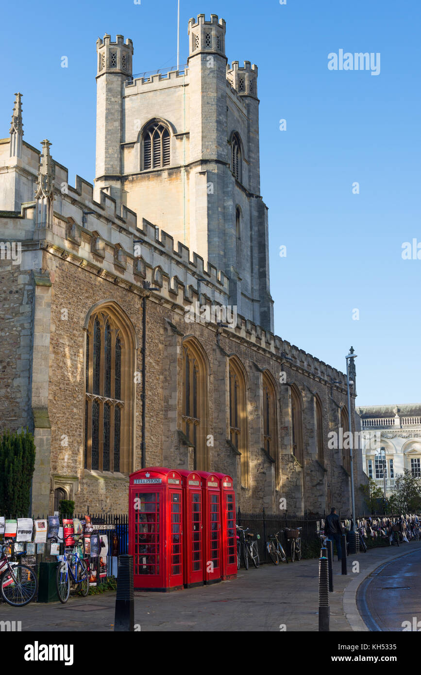 Old style British telephone booths by Great Saint Mary church in the University city of Cambridge, UK. Stock Photo