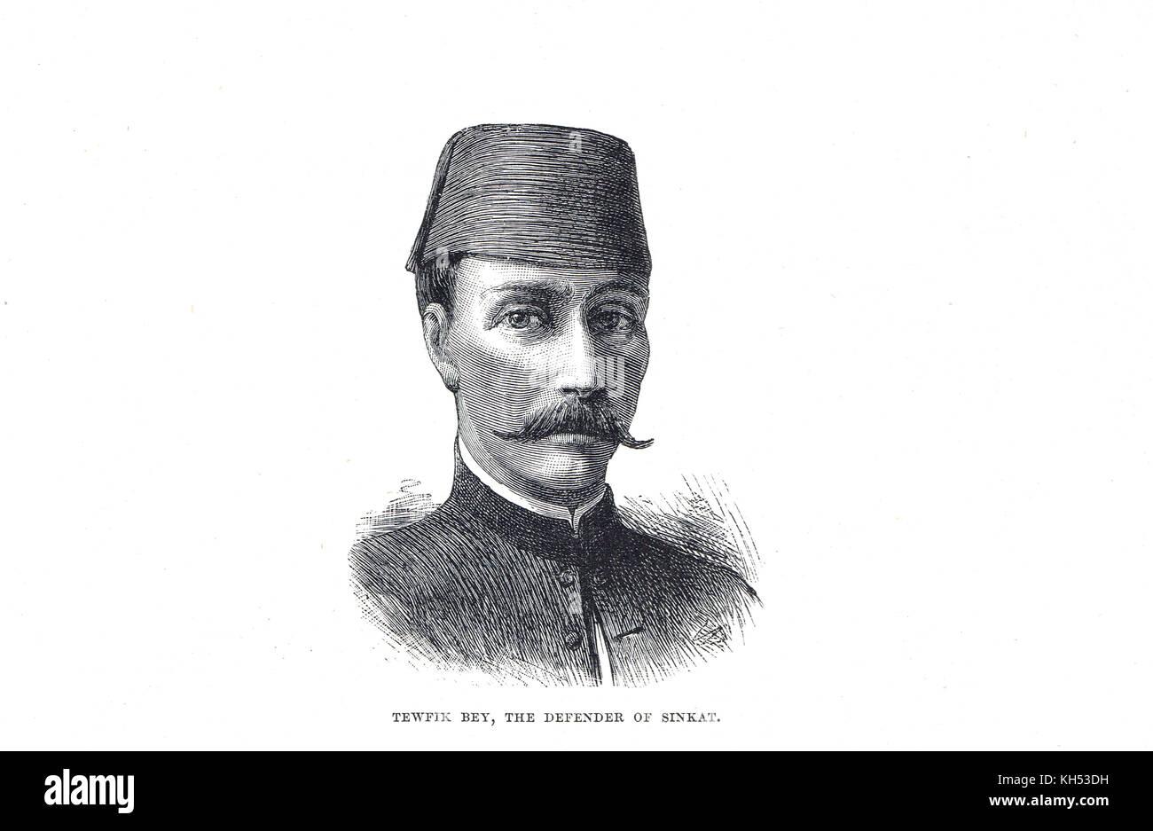 Tewfik Bey, defender of Sinkat, Sudan, commander at fall of Sinkat, 1884, Sudan war, - Stock Image