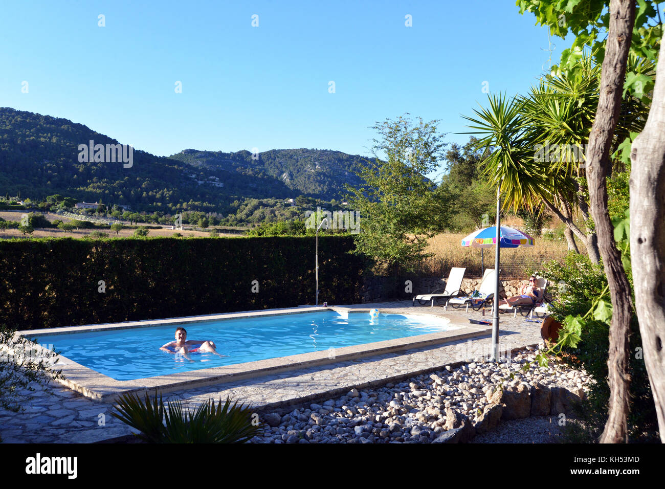 Idyllic Holiday villa with swimming pool on the Island of Mallorca Spain - Stock Image