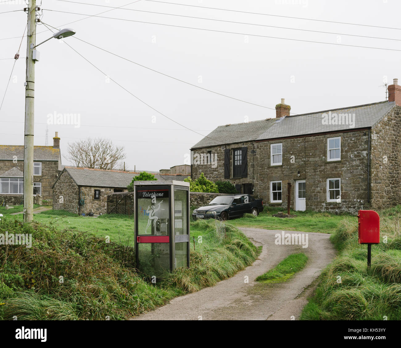 A traditional British Phone Box in Cornwall - Stock Image