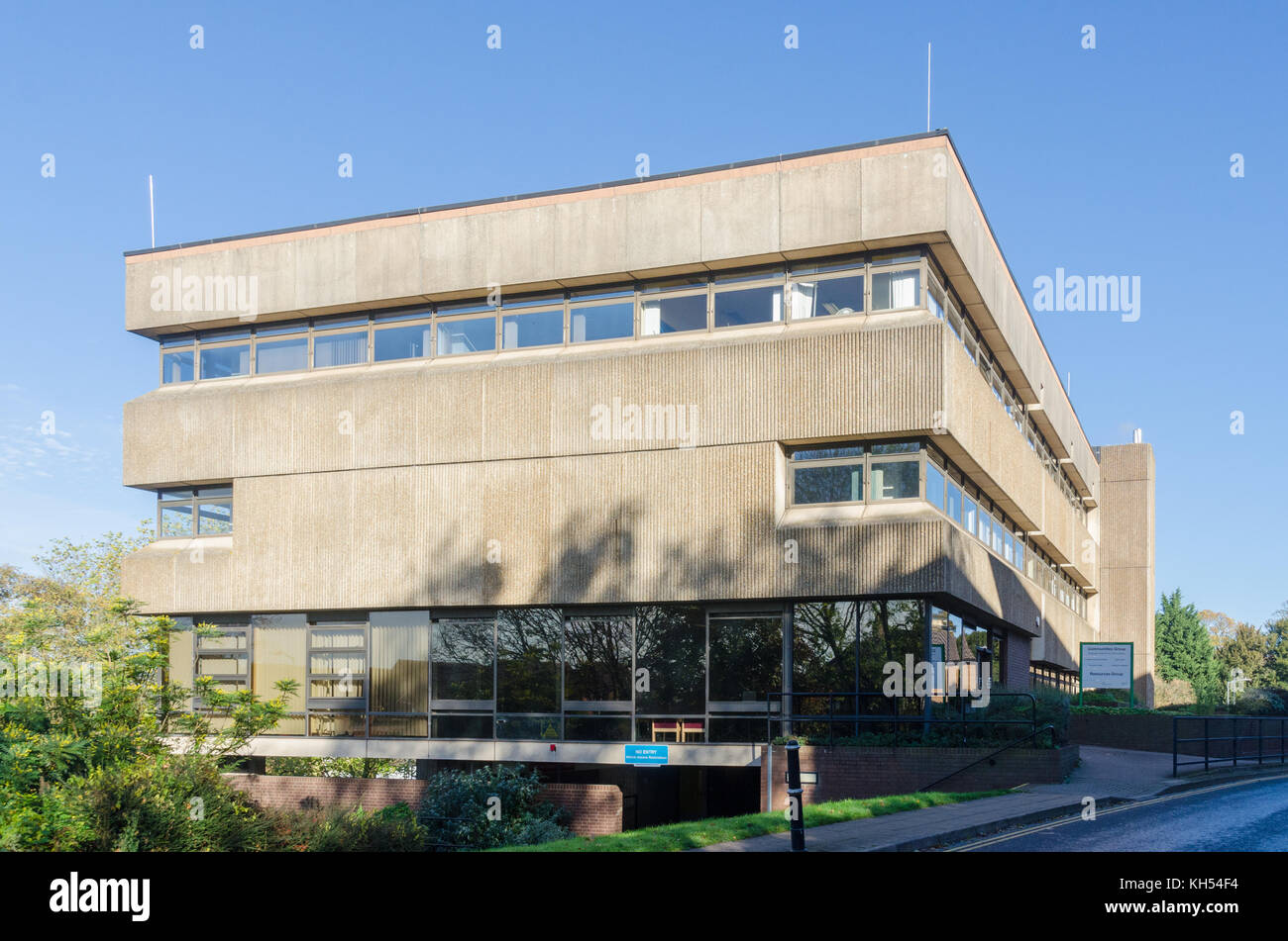 Warwickshire County Council brutalist office building in Barrack Street, Warwick, UK - Stock Image