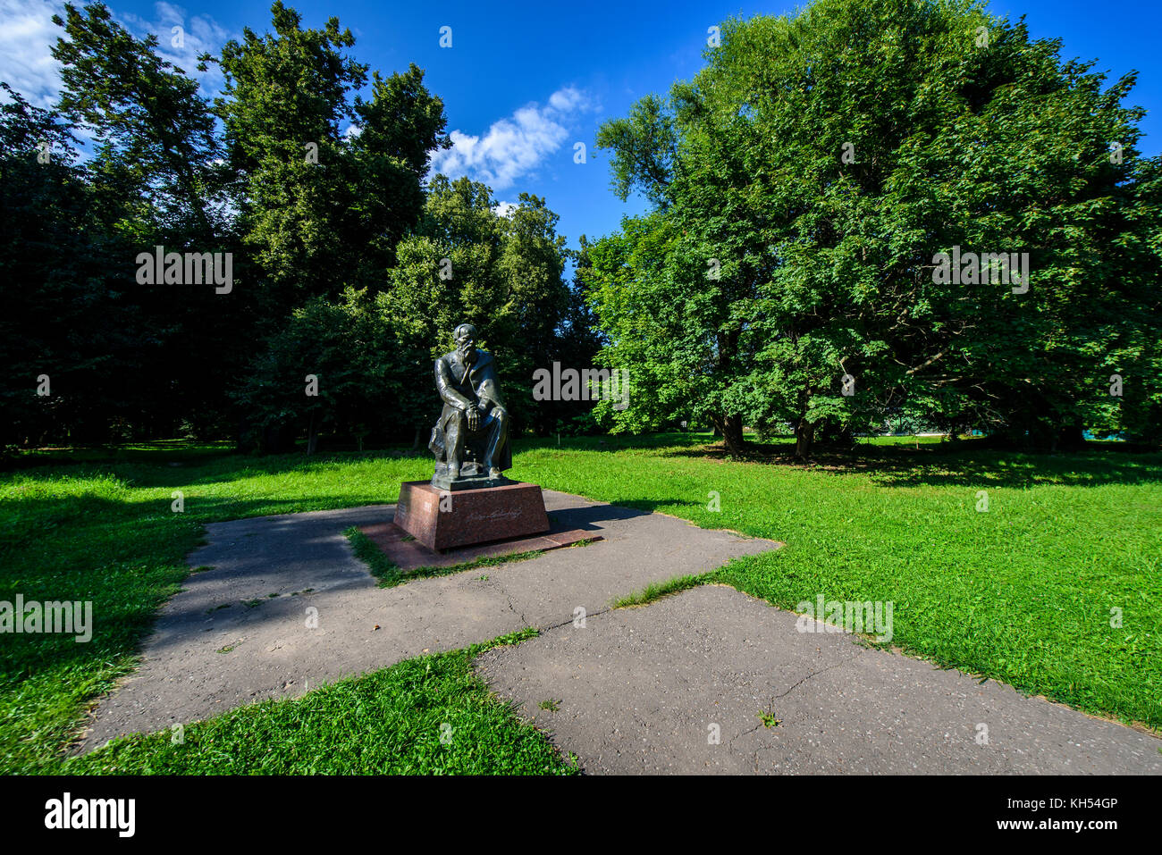 Statue of Dostoevsky in the family house of Dostoevsky in Darovoe, Moscow region. Russia. - Stock Image