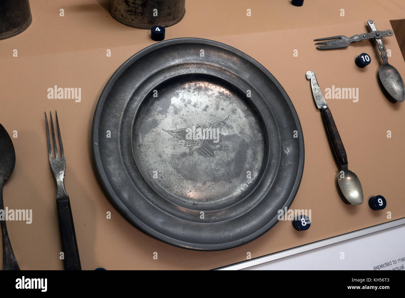 A US Army tin mess plate, National Civil War Museum, Lincoln Circle, Harrisburg, PA, United States - Stock Image