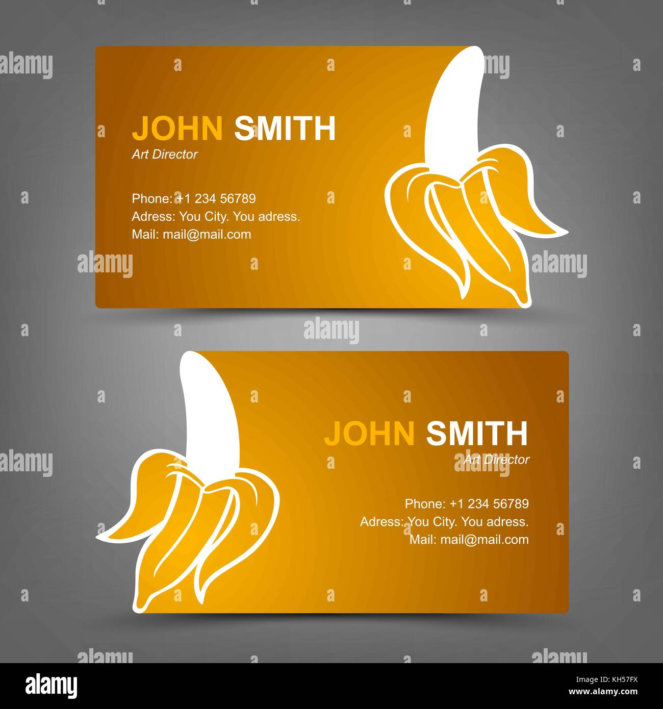 Business card yellow banana. Vector illustration in eps10 Stock ...