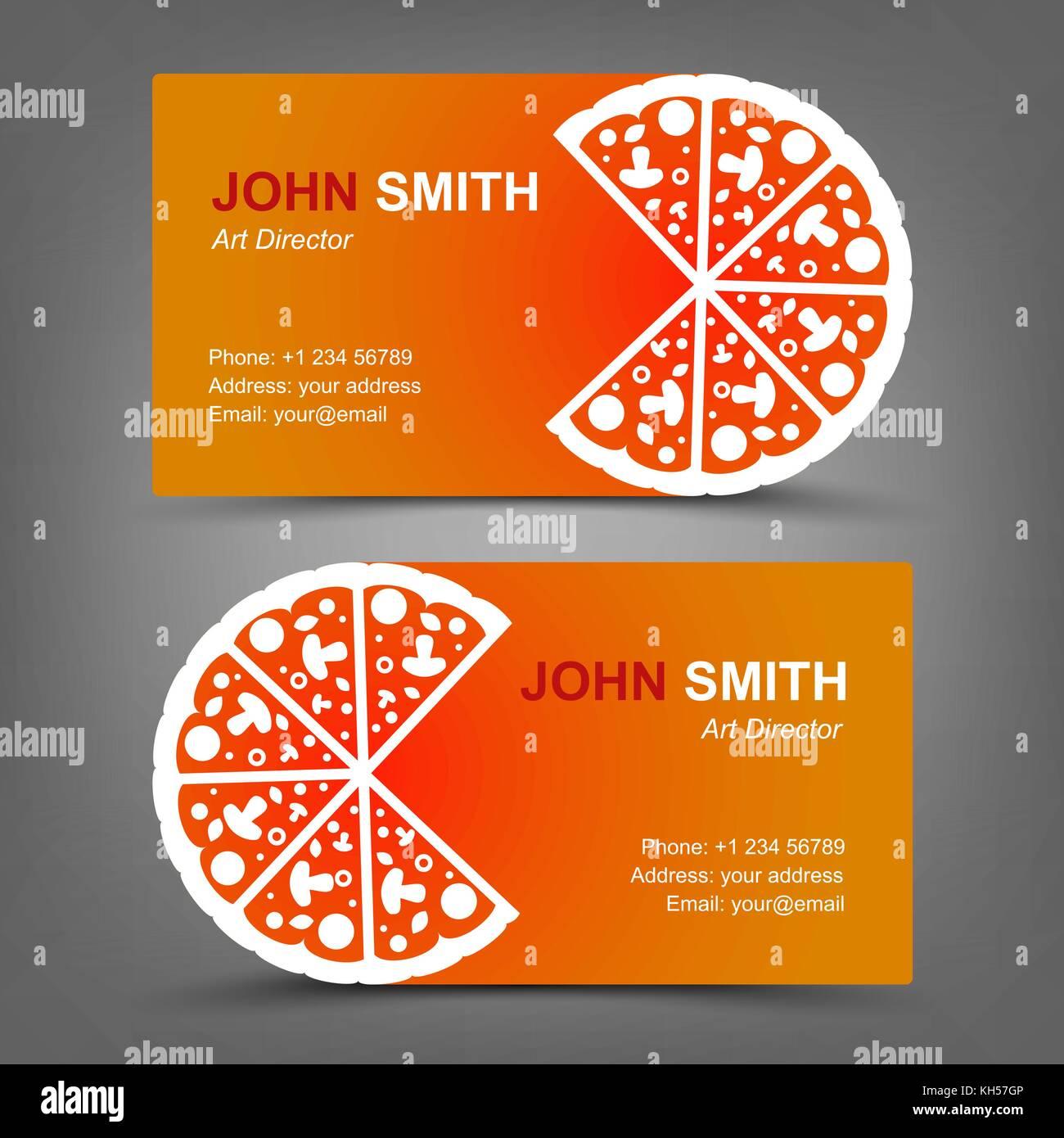 Business card. Pizza. Vector illustration in eps10 Stock Vector Art ...
