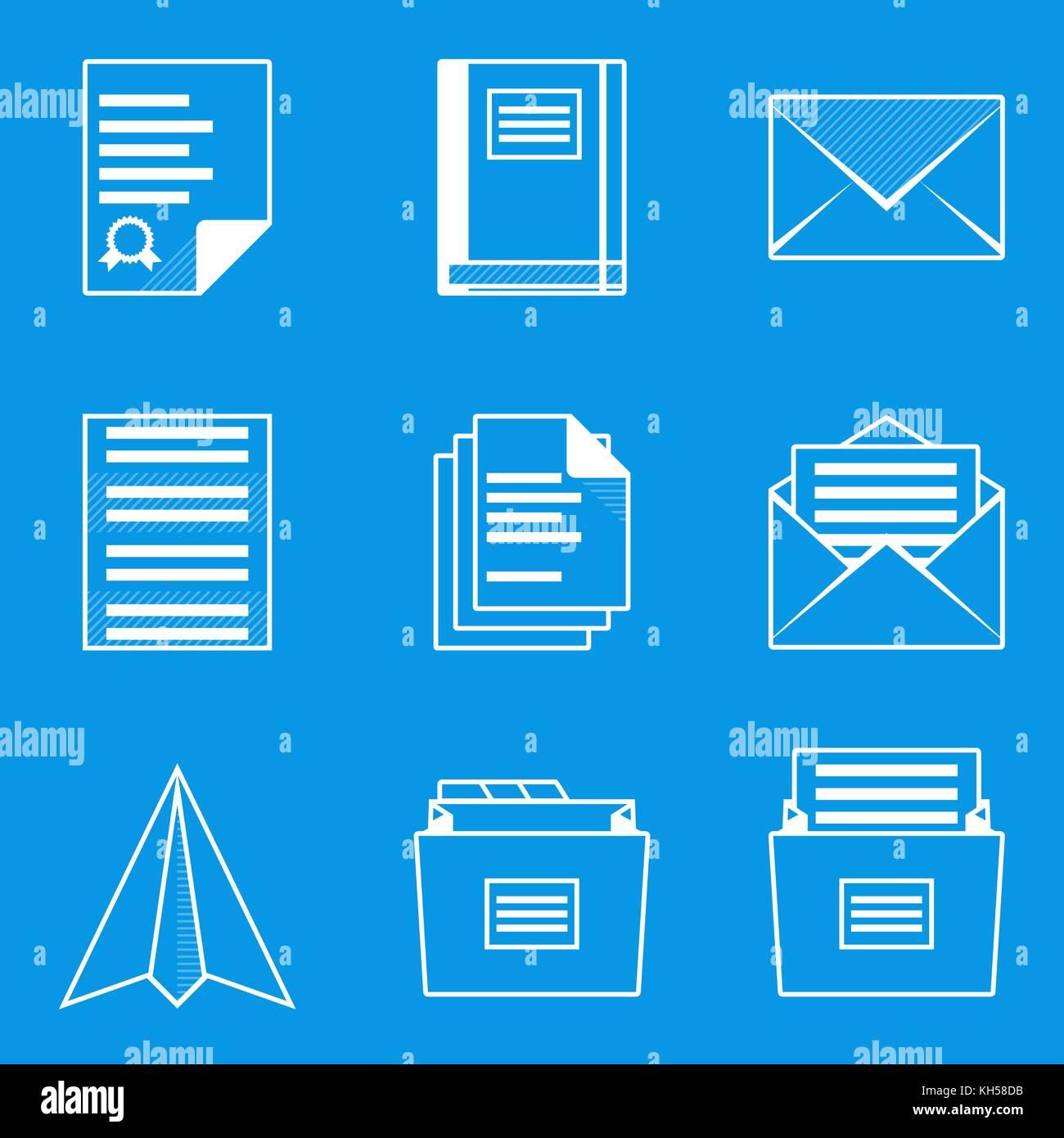 Blueprint icon set paper 2 vector illustration in eps10 stock blueprint icon set paper 2 vector illustration in eps10 malvernweather Choice Image