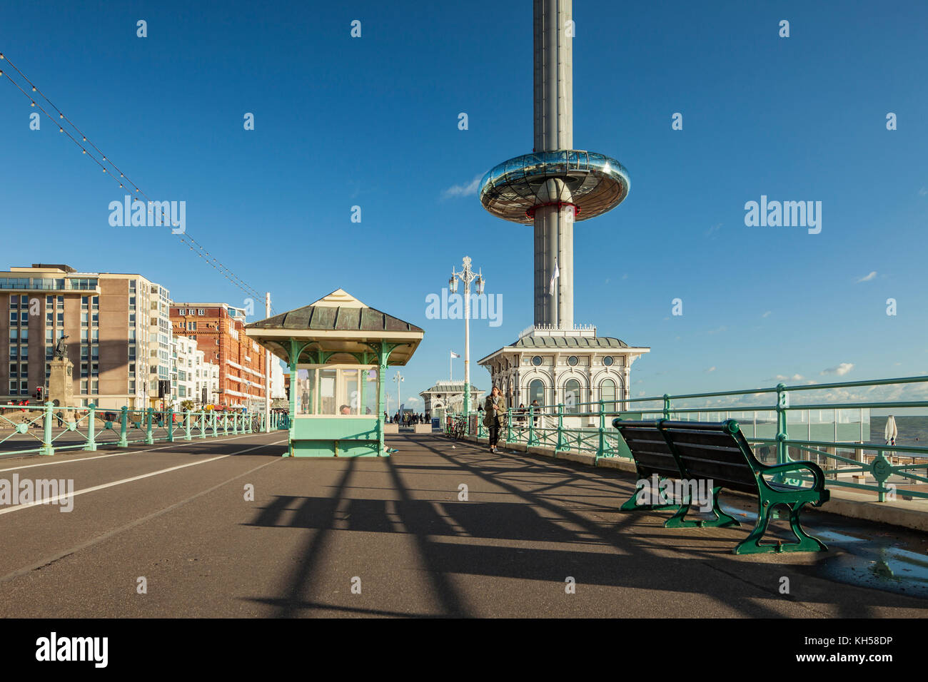 Afternoon on Brighton seafront, East Sussex, England. i360 tower in the distance. Stock Photo