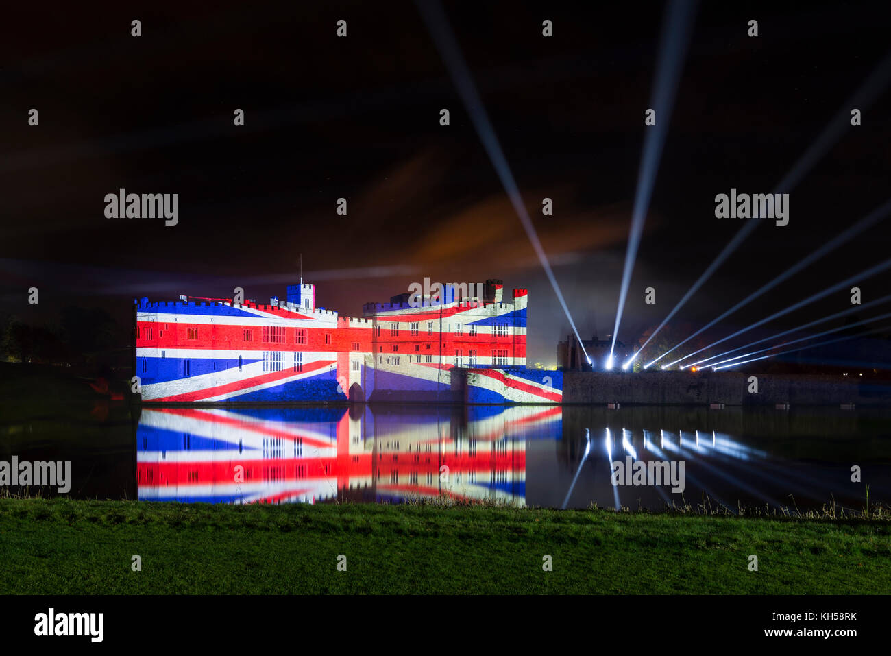 Firework display and light show at Leeds Castle, Kent - Stock Image