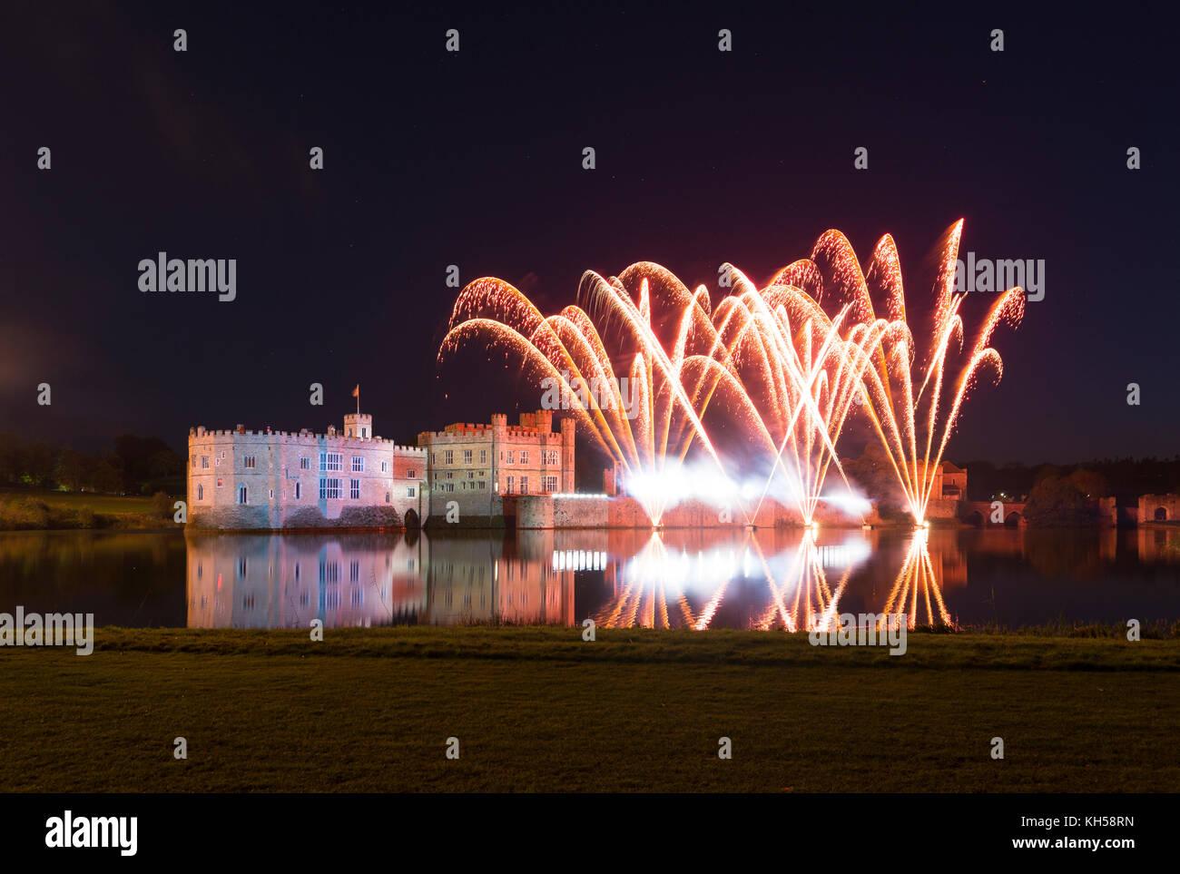 Firework display and light show at Leeds Castle, Kent - Stock Image