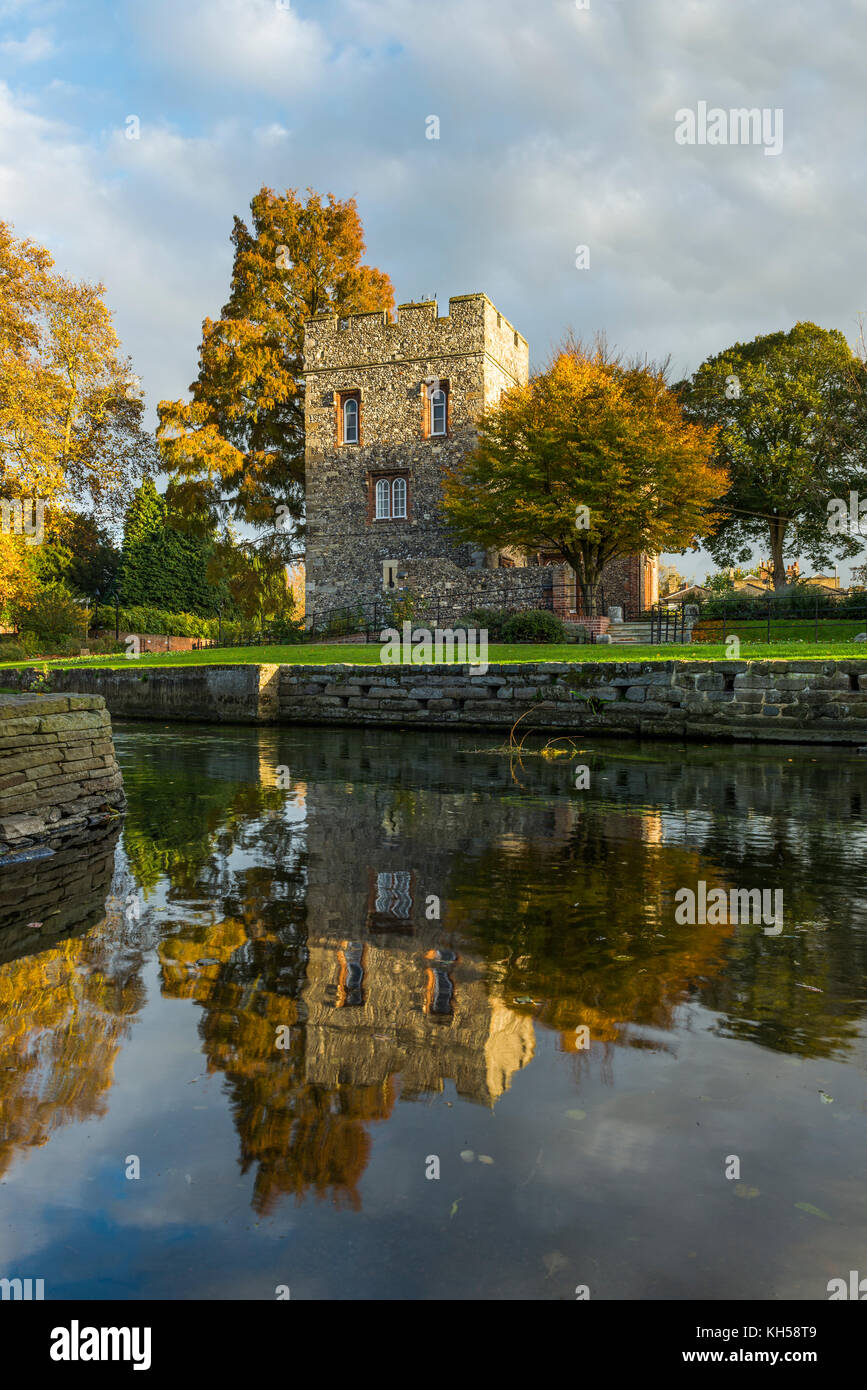 Tower House reflected in the River Stour in Westgate Gardens, Canterbury, Kent - Stock Image