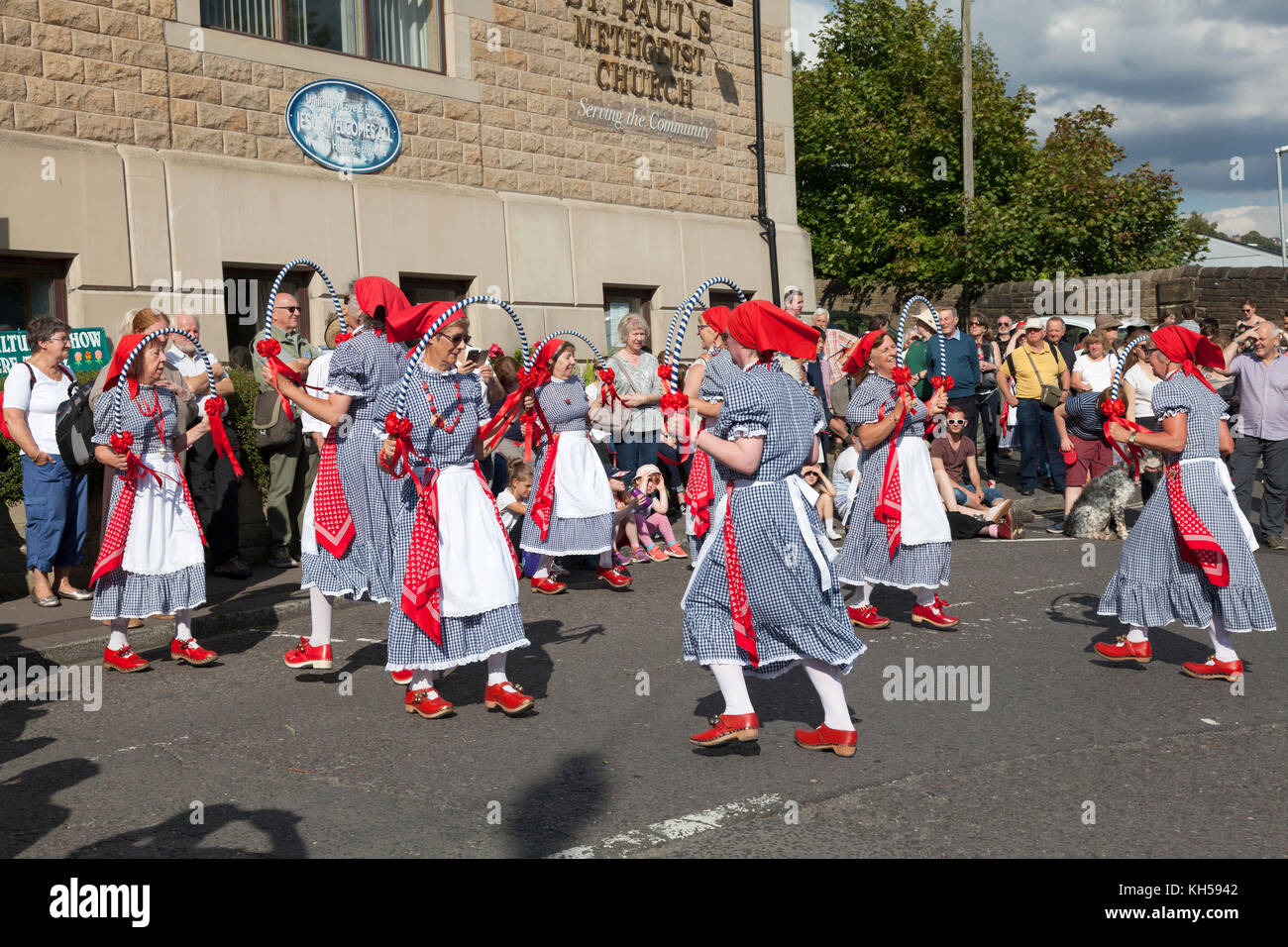 The Poynton Jemmers morris dancers at Sowerby Bridge during the 2017 Rushbearing Festival - Stock Image