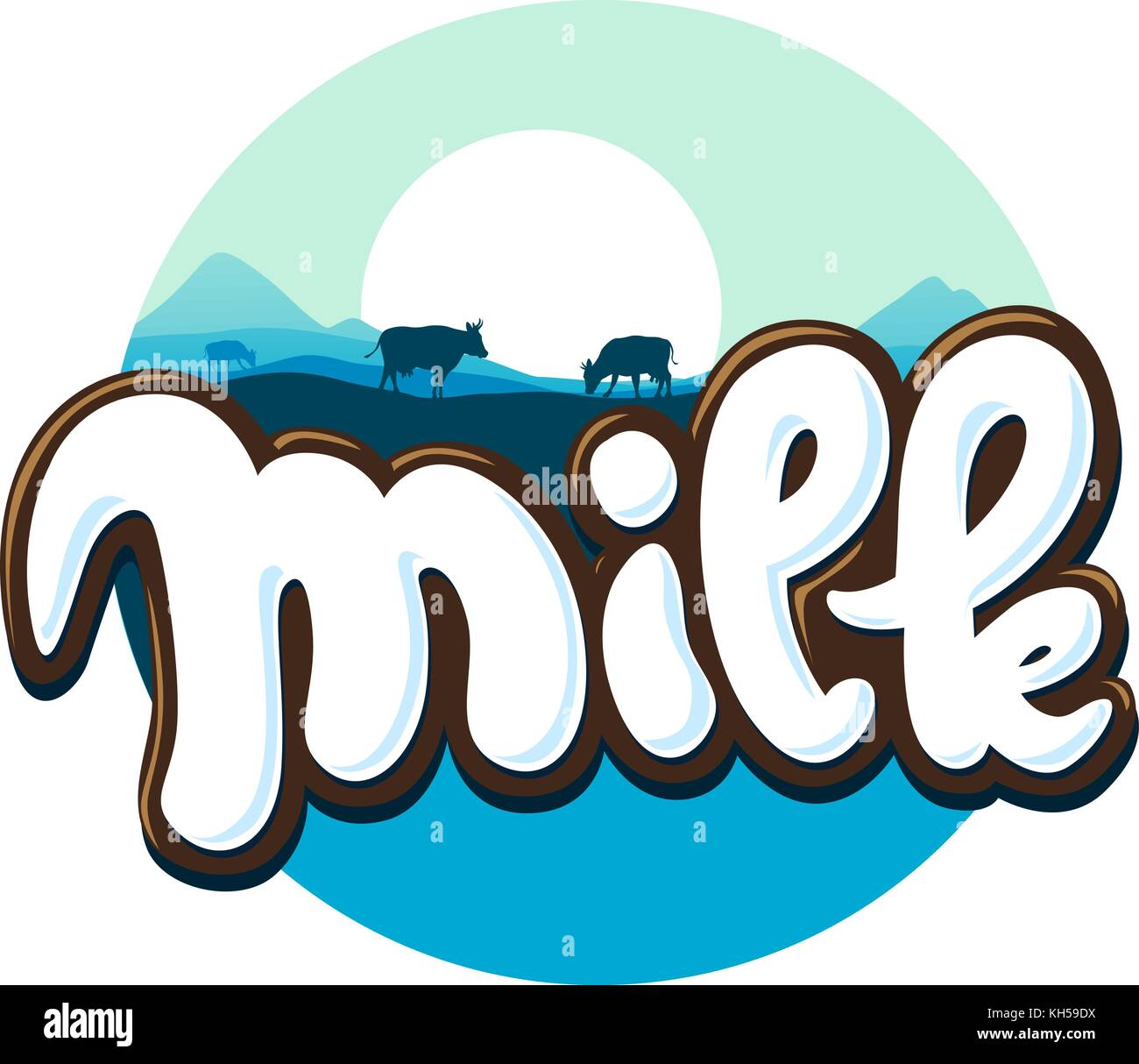 milk logo hand written with cow silhouette vector