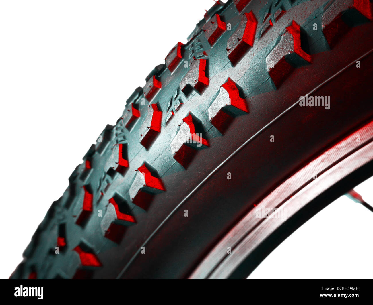 Abstract speed and power of cross mountain bike tire on white background Stock Photo
