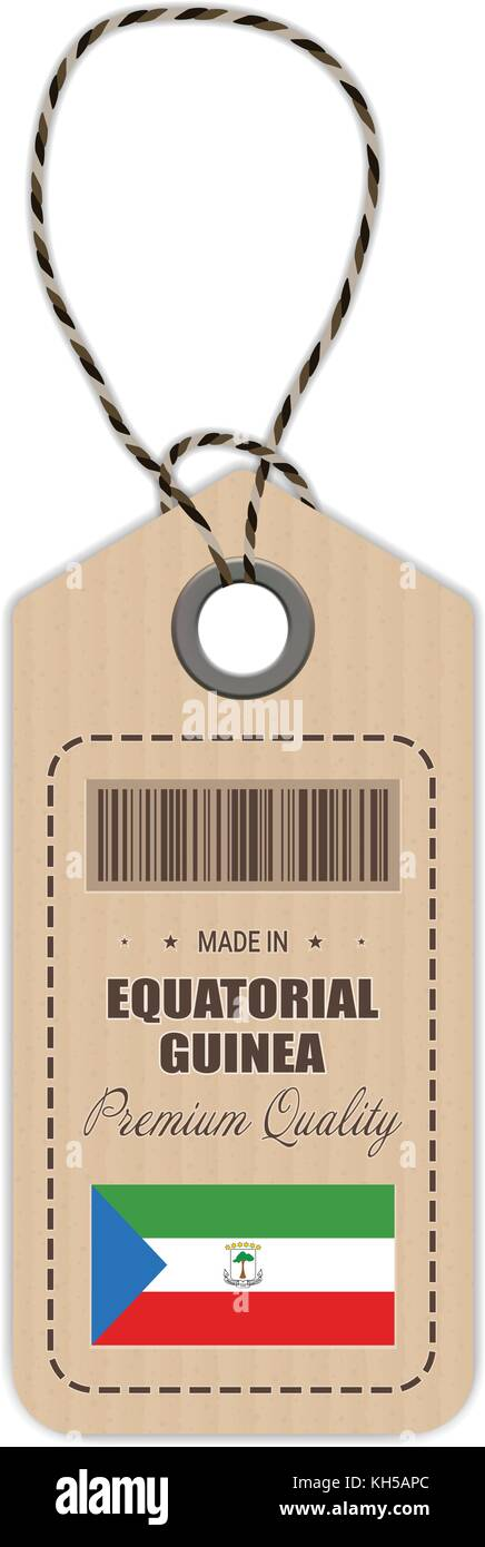 Hang Tag Made In Equatorial Guinea With Flag Icon Isolated On A White Background. Vector Illustration. - Stock Image