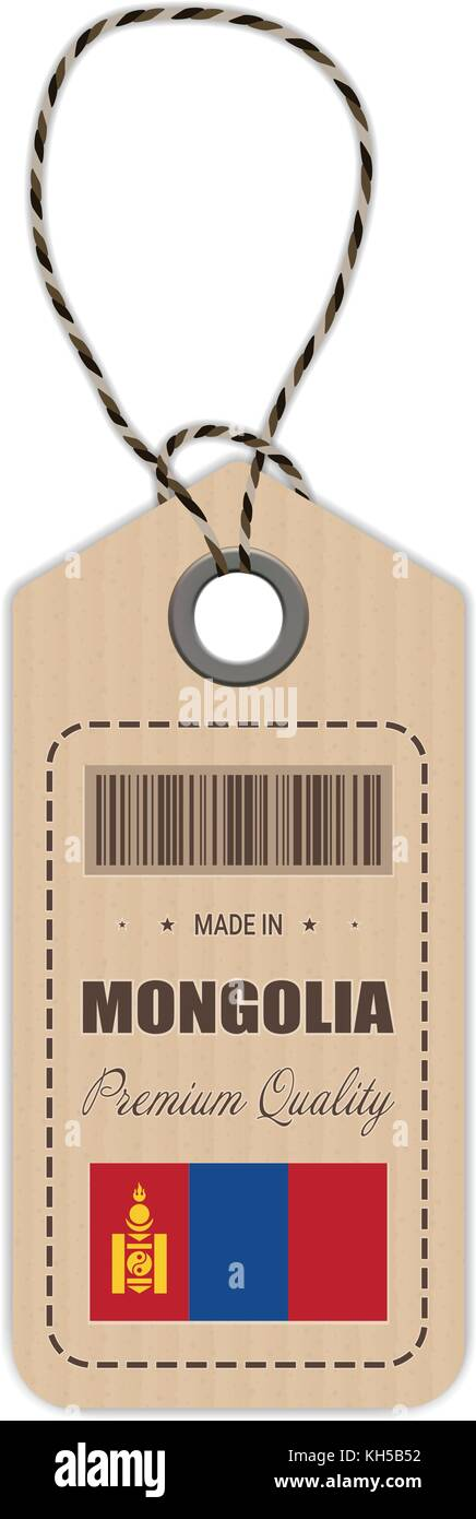 Hang Tag Made In Mongolia With Flag Icon Isolated On A White Background. Vector Illustration. - Stock Vector