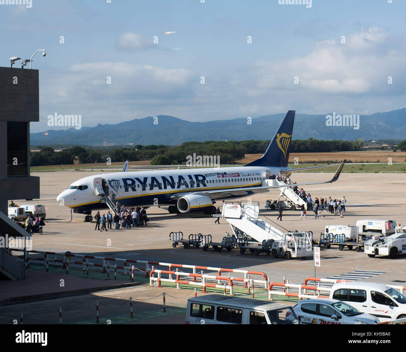Ryanair flights at Girona Airport, Spain - Stock Image