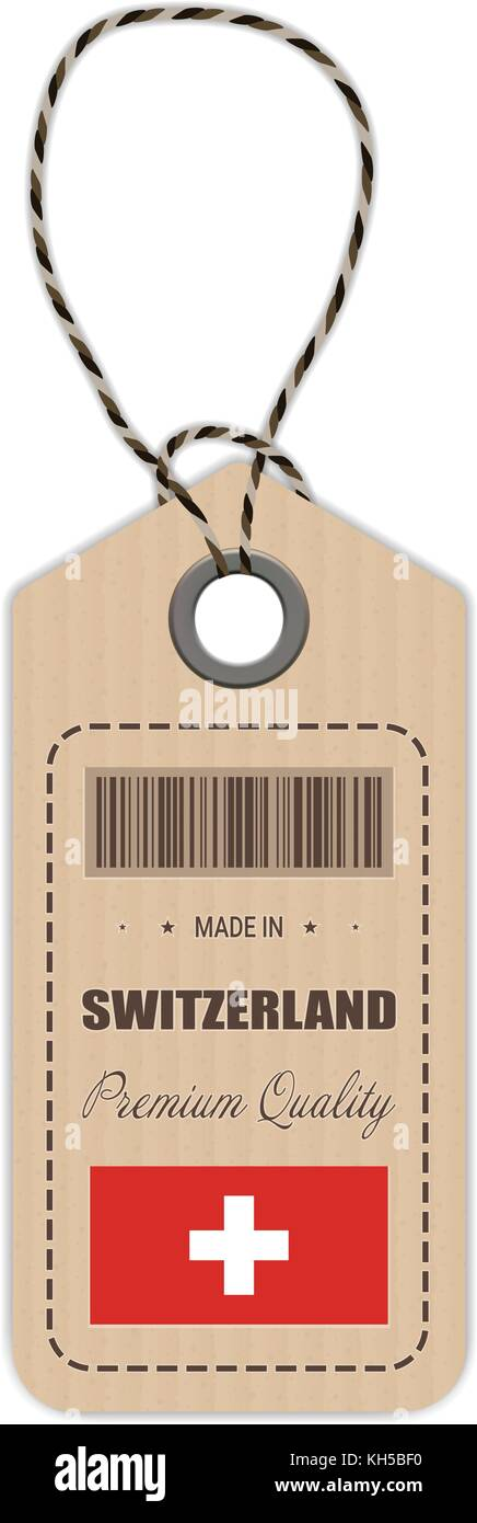 Hang Tag Made In Switzerland With Flag Icon Isolated On A White Background. Vector Illustration. - Stock Image