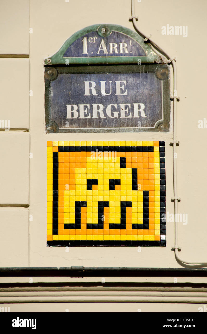 Paris, France. Space Invader Mosaic street art by \'Invader\' at 4 rue ...