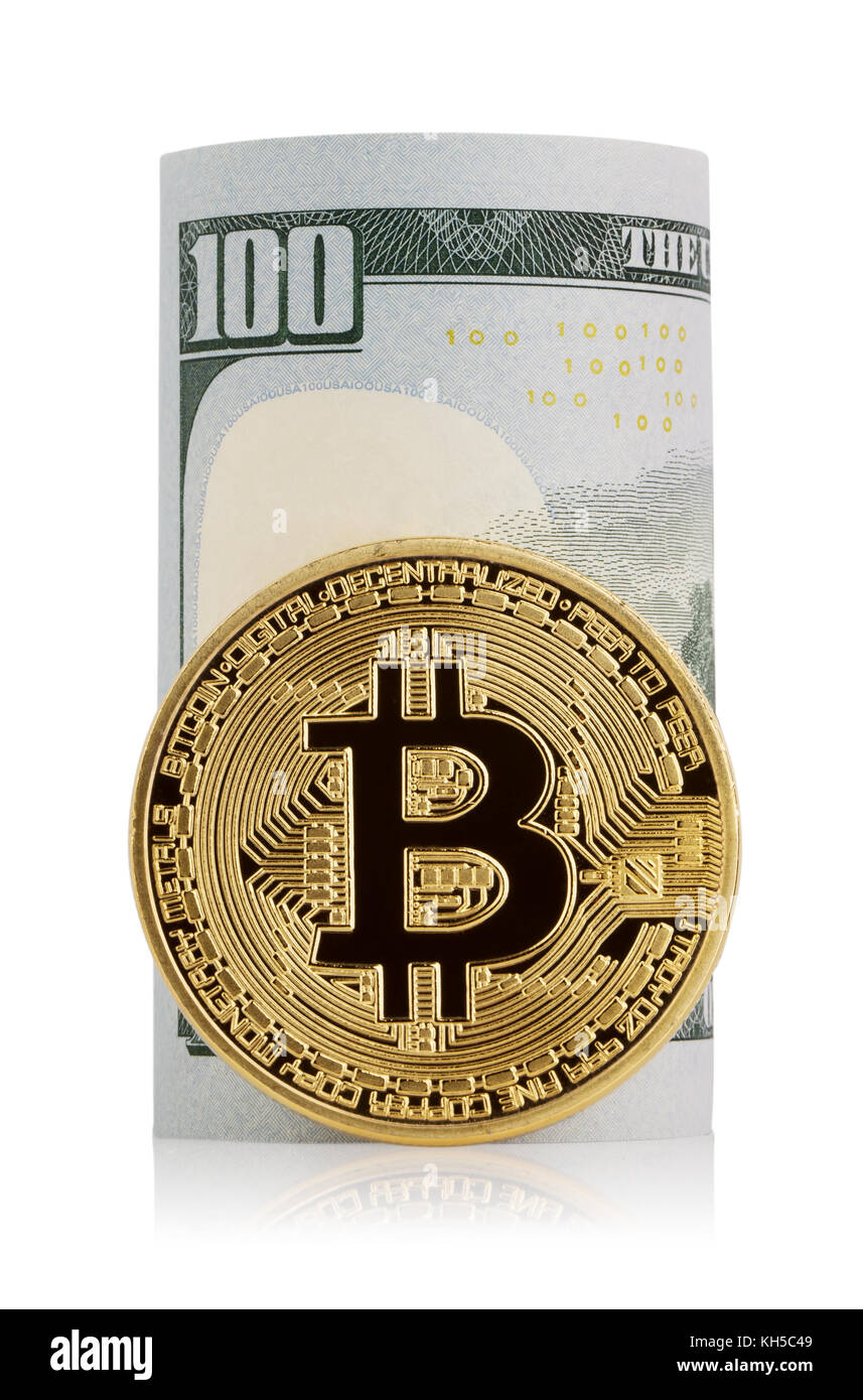 Twisted hundred dollar bills and virtual currency bitcoin - Stock Image