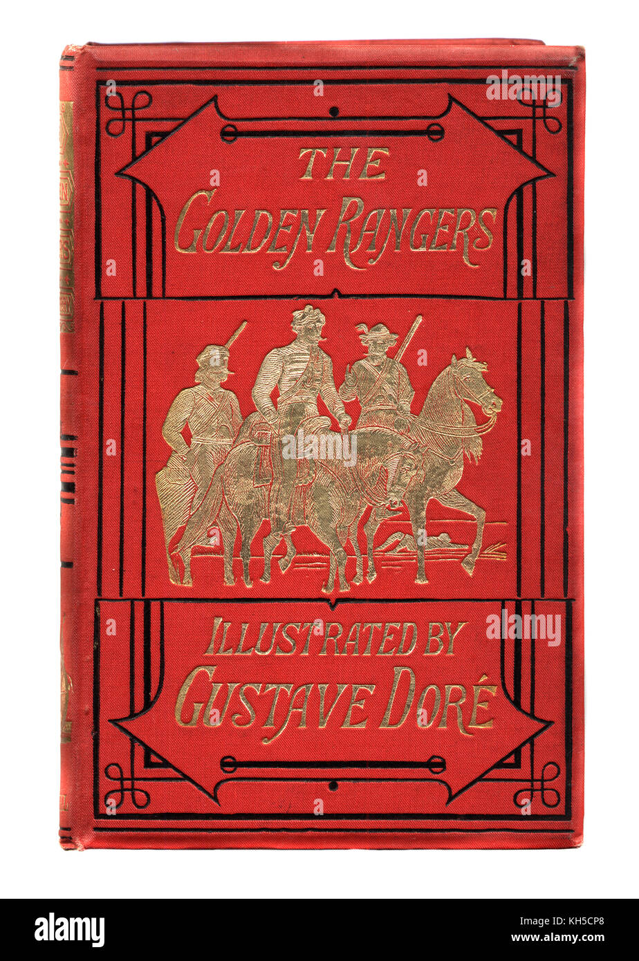 Victorian book cover, Golden Rangers by Gabriel Ferry, illustrated  by Gustave Dore. - Stock Image