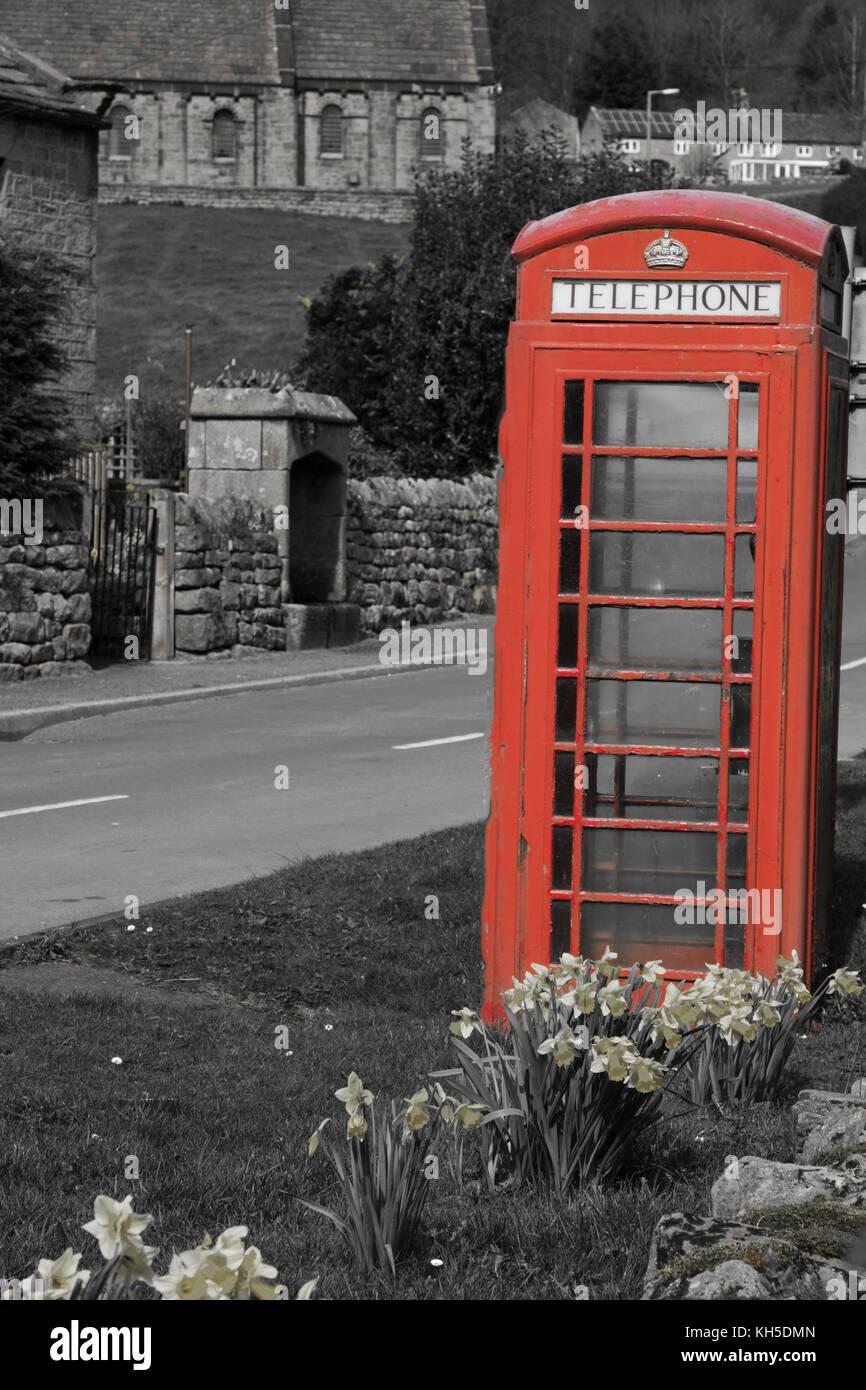 Red telephone box at Wilsill,near Pateley Bridge,North Yorkshire,England,UK. - Stock Image