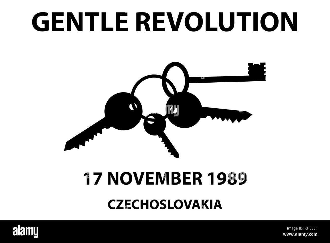 Clinking keys - gentle revolution symbol - 17 november 1989 - Stock Vector