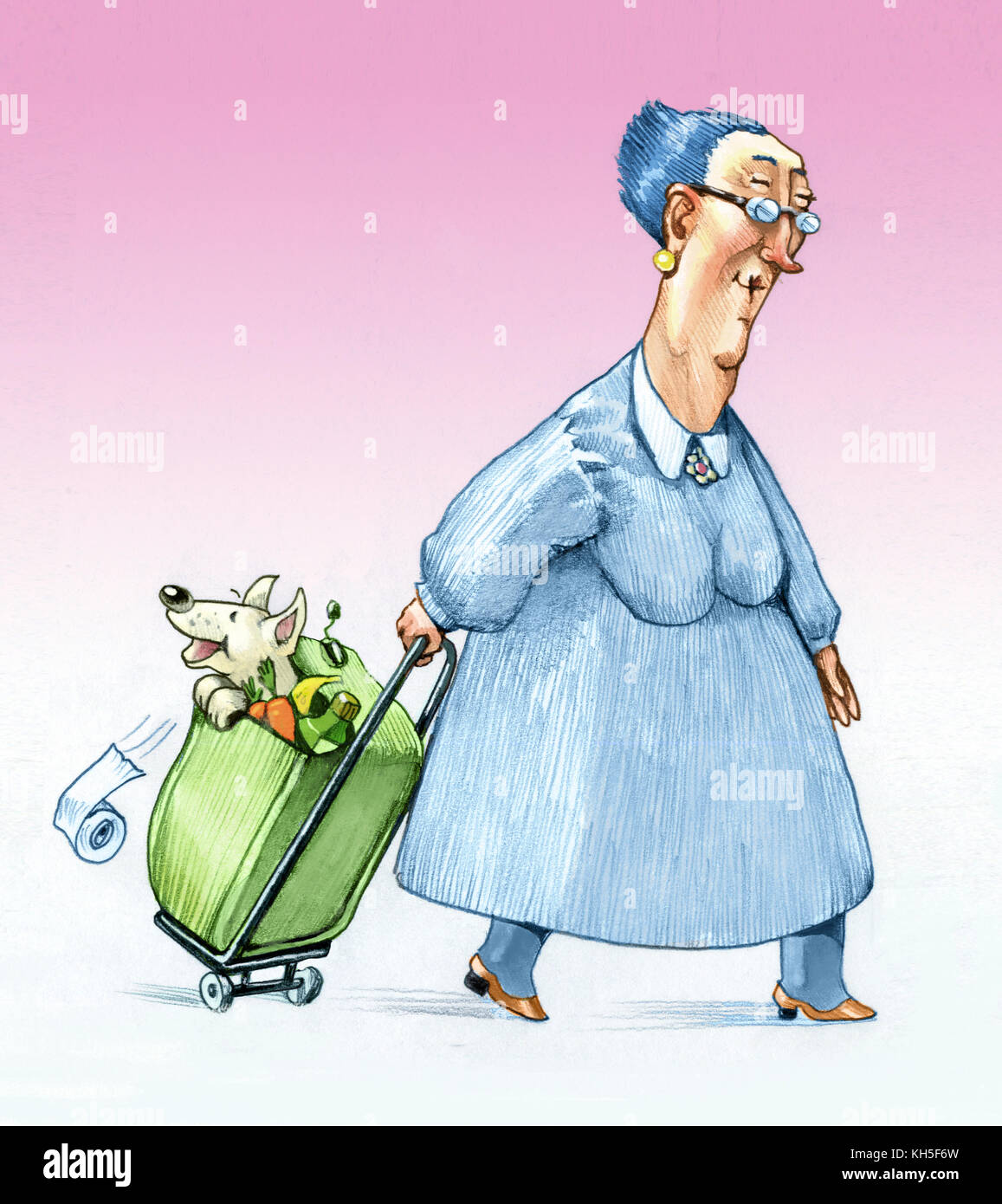 an elderly sympathetic comes back from shopping with a trolley with her puppy inside - Stock Image