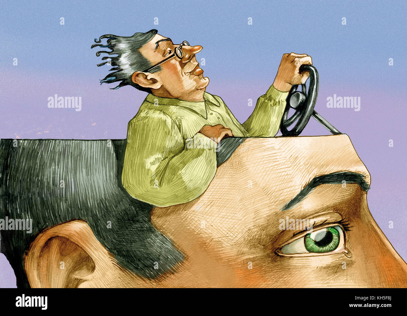 in the head of a man in the foreground there is a man riding relaxed and confident of himself - Stock Image