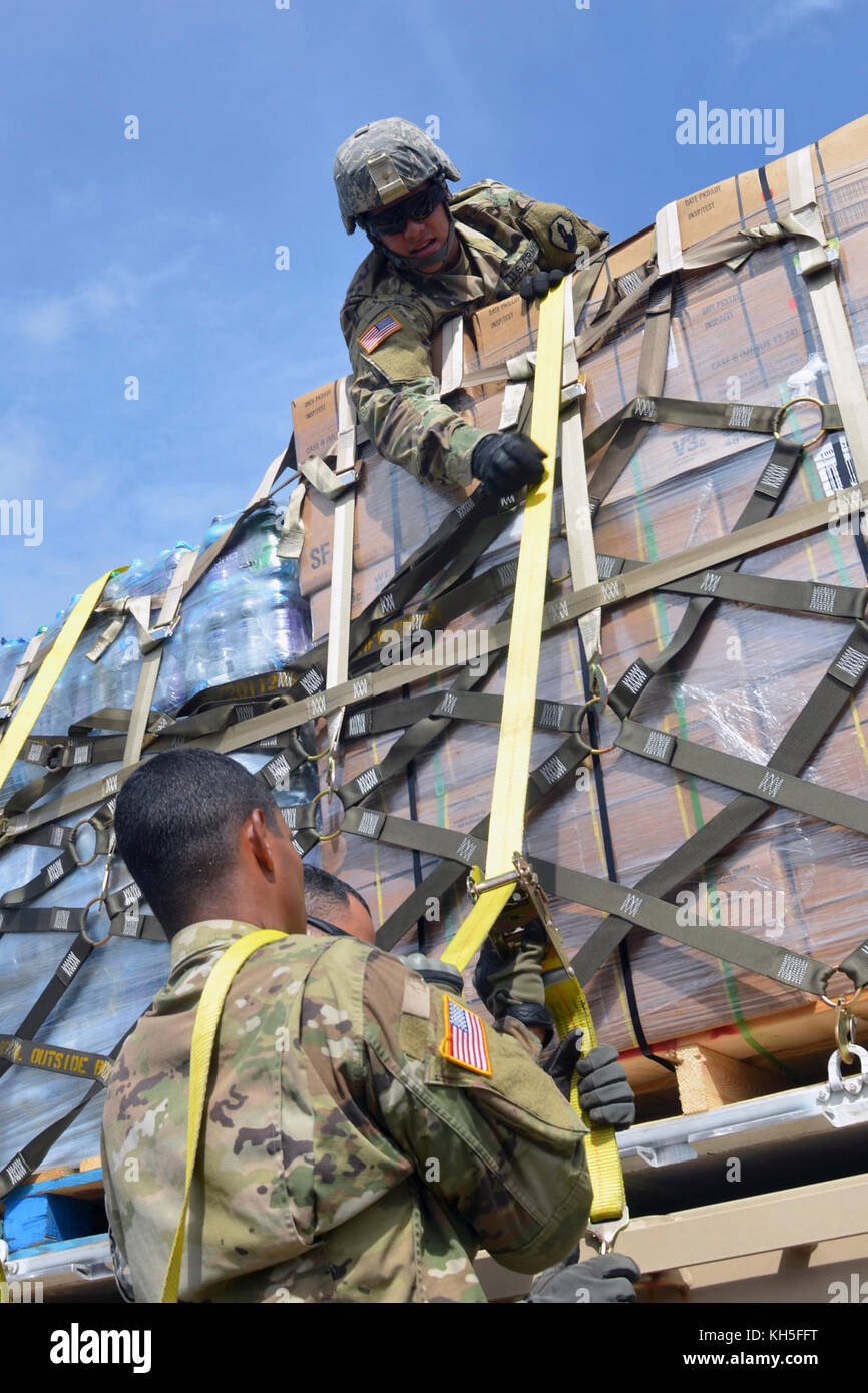 U.S. Army Reserve Spc. Bryan Ortiz, a Bayamón, Puerto Rico, native, and a motor transport operator, 1st Mission - Stock Image