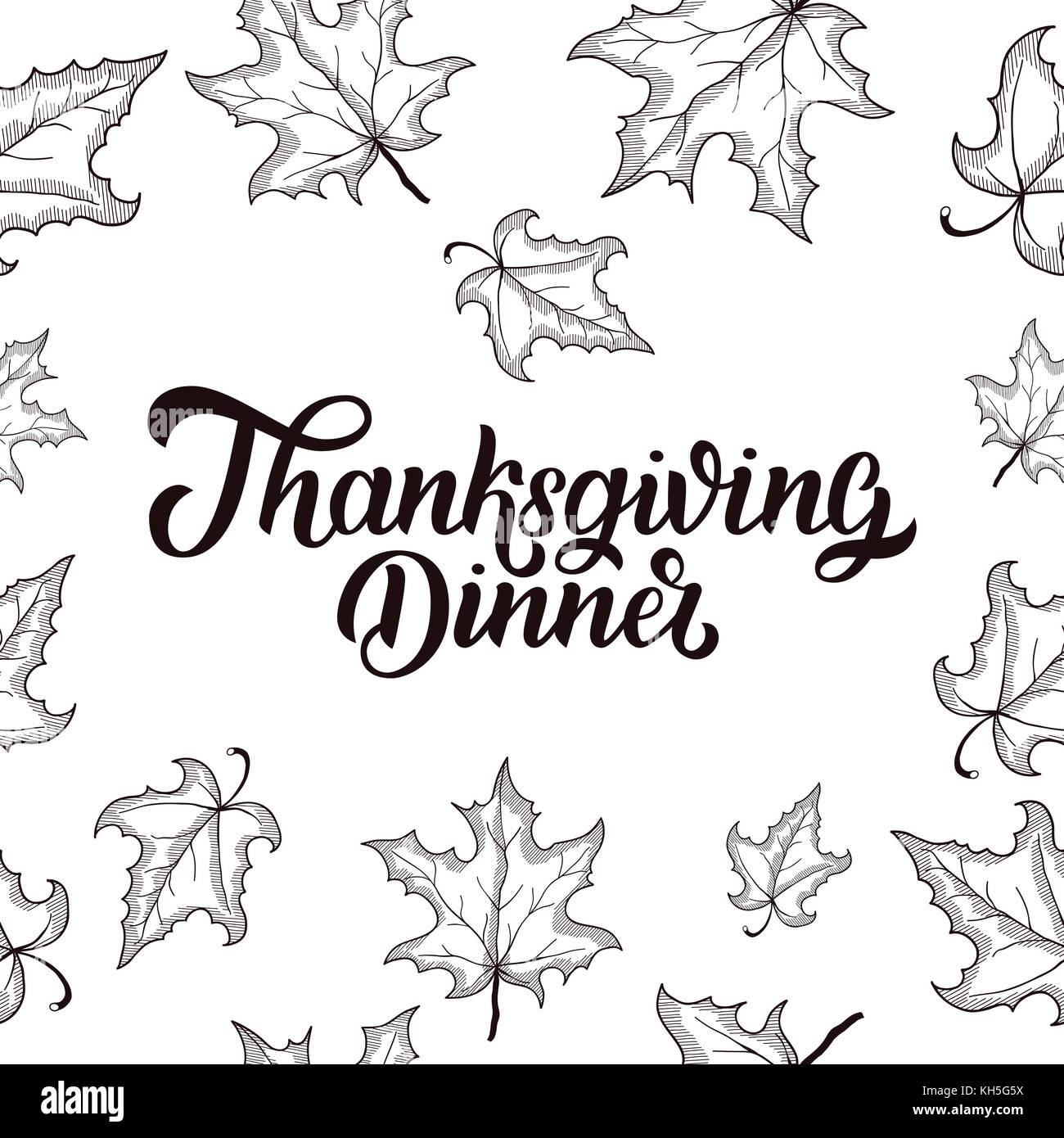 Thanksgiving Dinner Brush Hand Lettering With Maple Leaves Frame Isolated On White Background Calligraphy Vector Illustration For Holiday Type Desig
