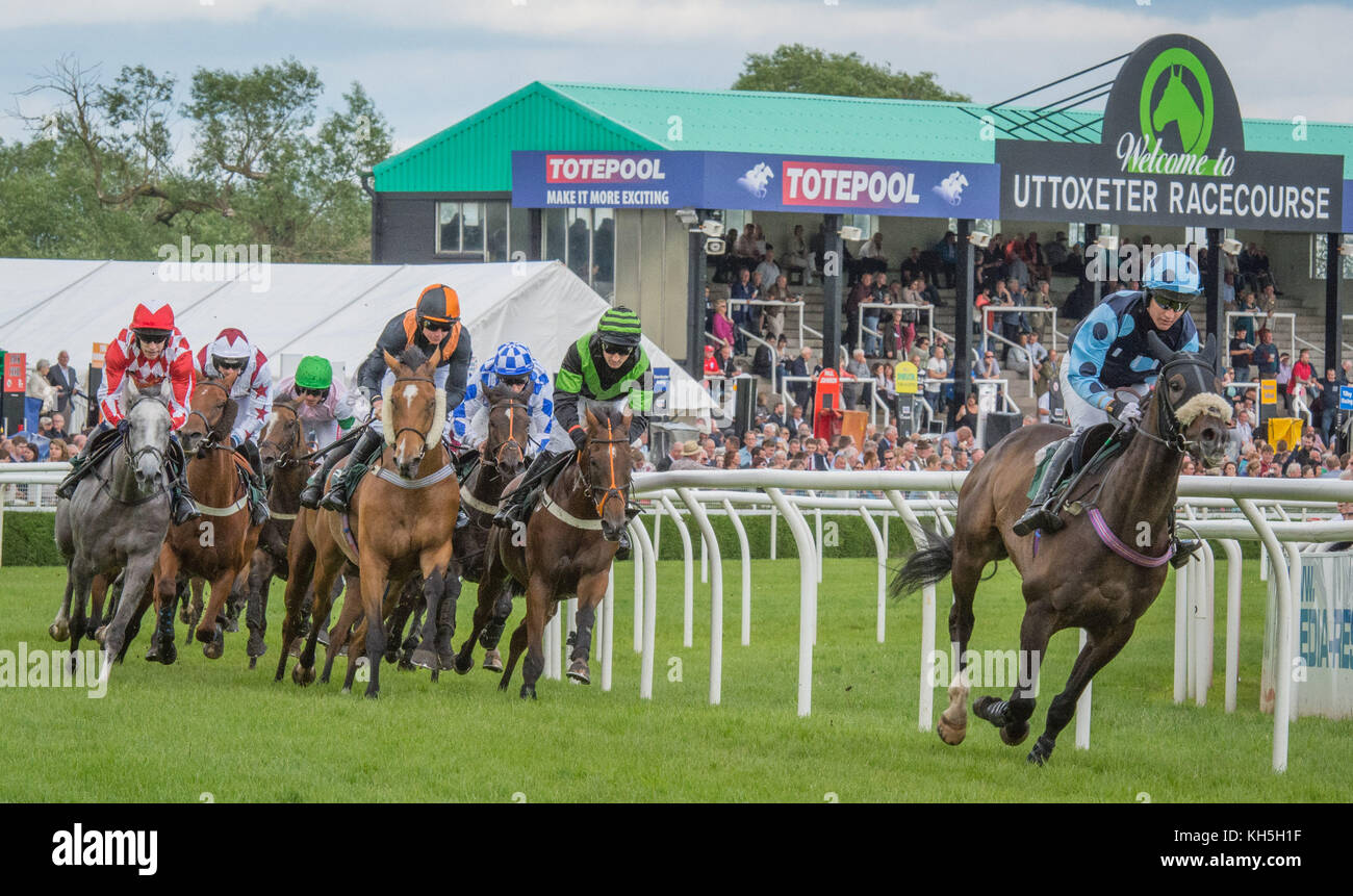 Horse Racing at Uttoxeter Racecourse, UK Stock Photo