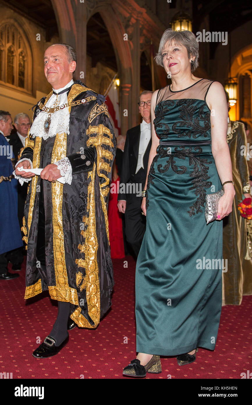 Prime Minister Theresa May with new Lord Mayor of London Charles Bowman arriving at the annual Lord Mayor's - Stock Image