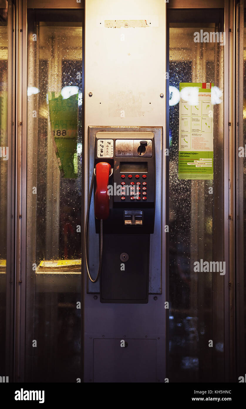 Closeup view of street telephone cabin. - Stock Image