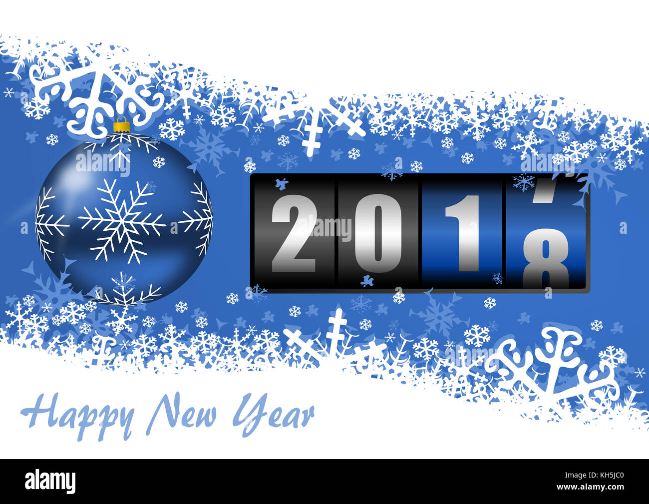 New year eve 2018 greeting card with counter and christmas ball on blue background with empty copy space for your - Stock Image