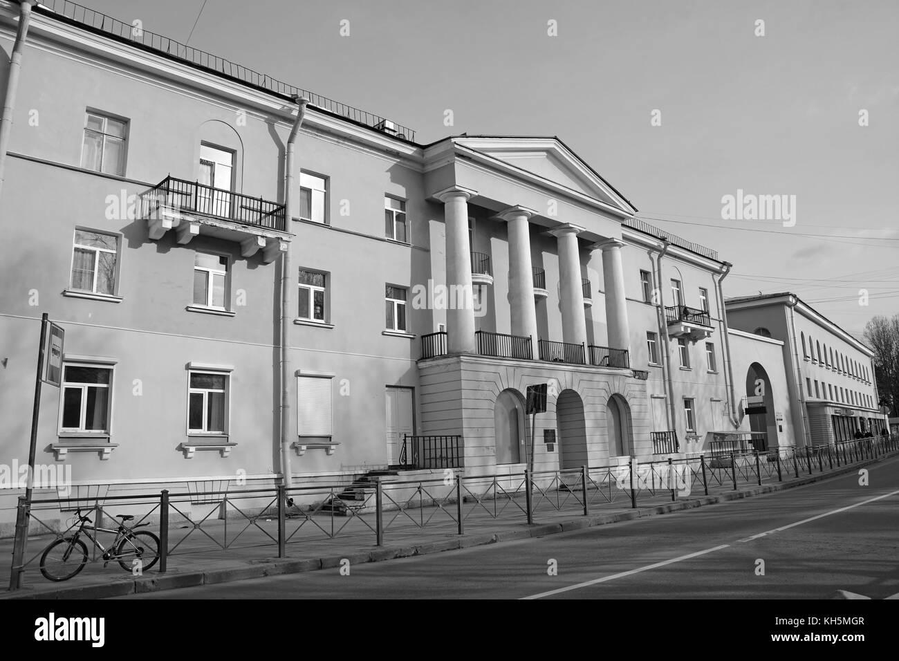 Zelenogorsk, prospekt Lenina. Black and white picture Stock Photo