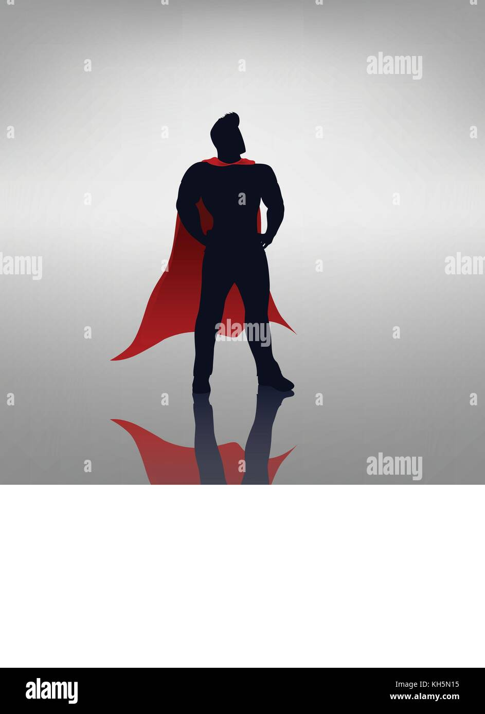 hero with red cape - Stock Image