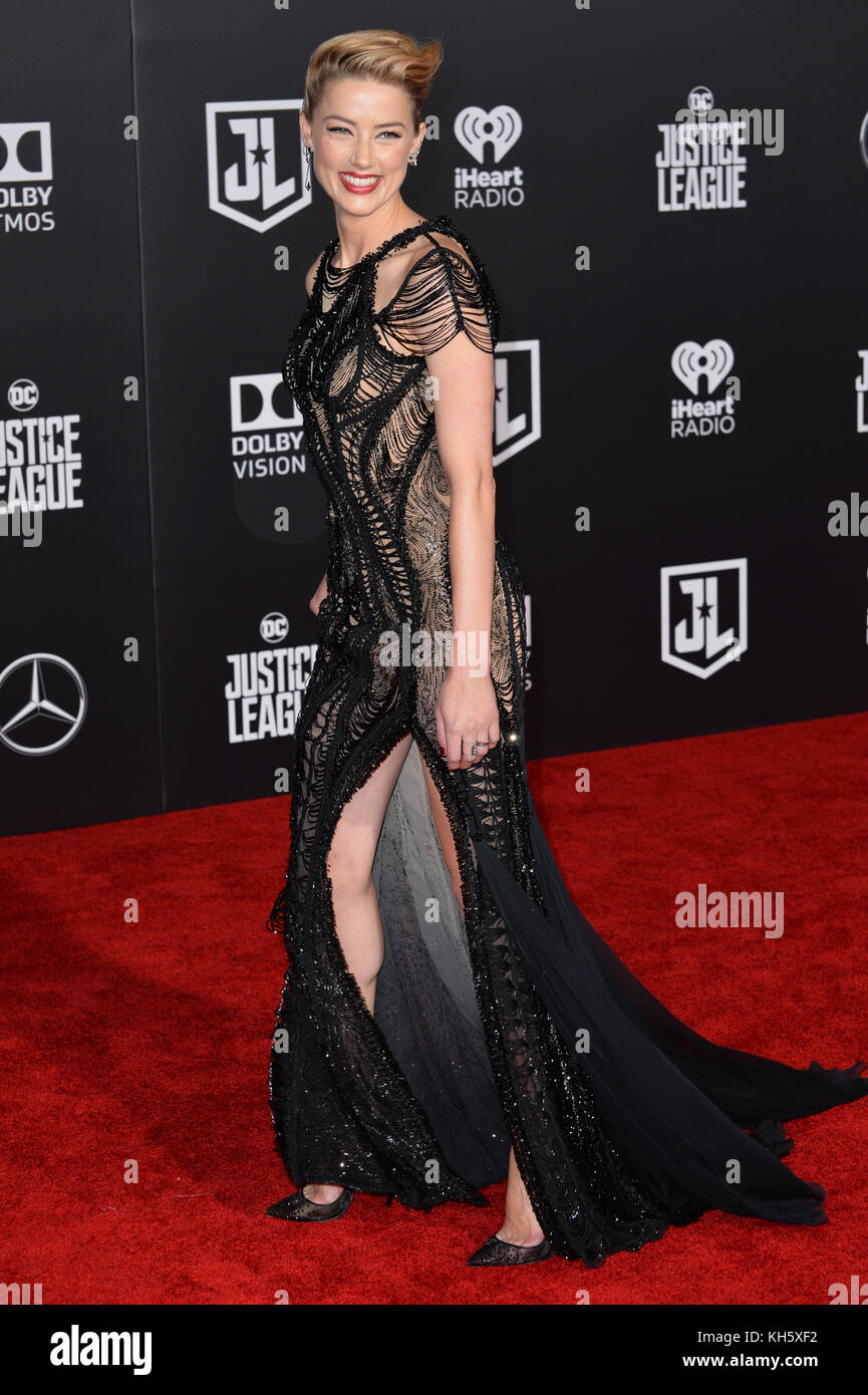 Los Angeles, USA. 13th Nov, 2017. Amber Heard at the world premiere for 'Justice League' at The Dolby Theatre, - Stock Image