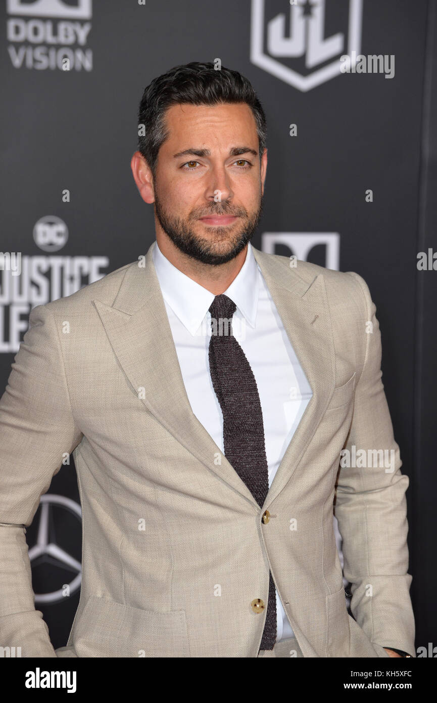 Los Angeles, USA. 13th Nov, 2017. Zachary Levi at the world premiere for 'Justice League' at The Dolby Theatre, - Stock Image