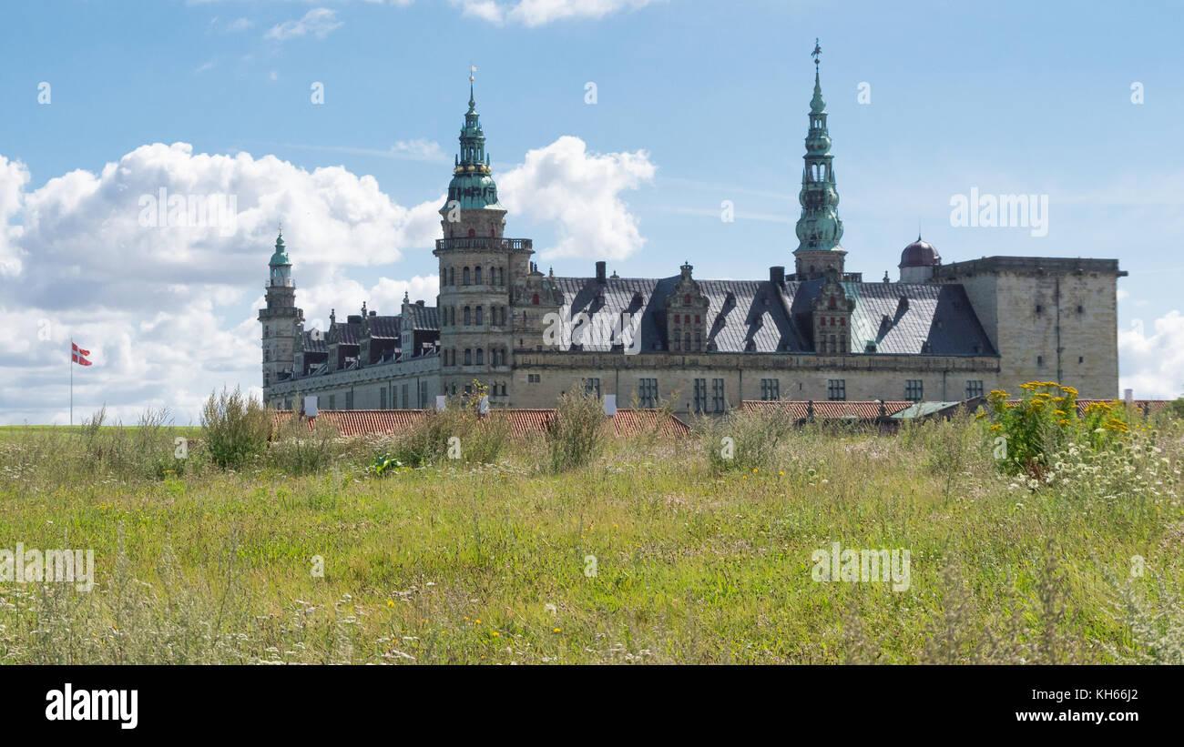 Kronborg Castle seen form east, Helsingør, Denmark - Stock Image