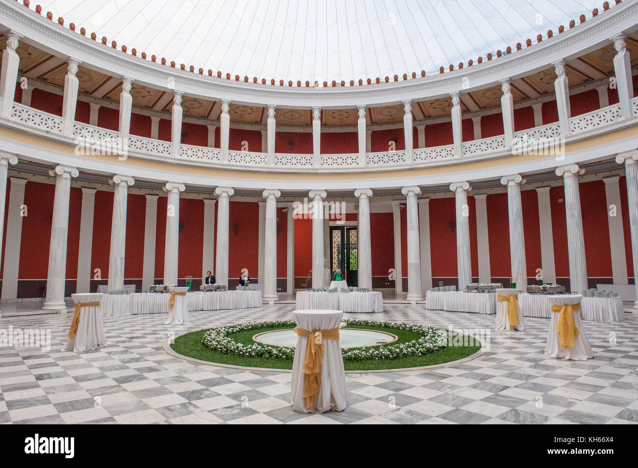The atrium at Zappeion Hall in Athens, Greece. The Zappeion was used as the main fencing hall during the first summer - Stock Image
